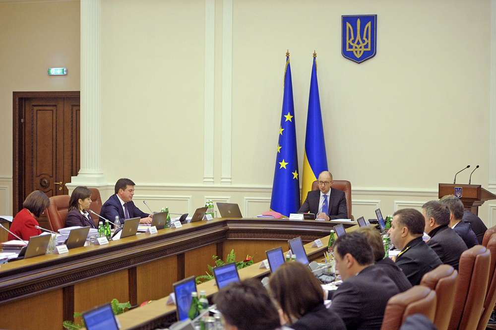 Премьер-министр Украины Арсений Яценюк проводит заседание