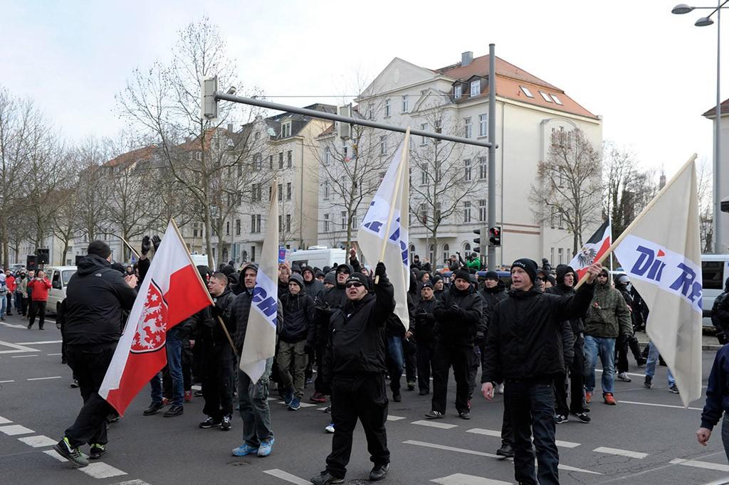 Марш антифашистов в Лейпциге
