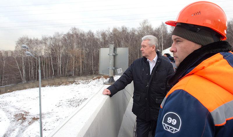Сергей Собянин во время открытия новой эстакады