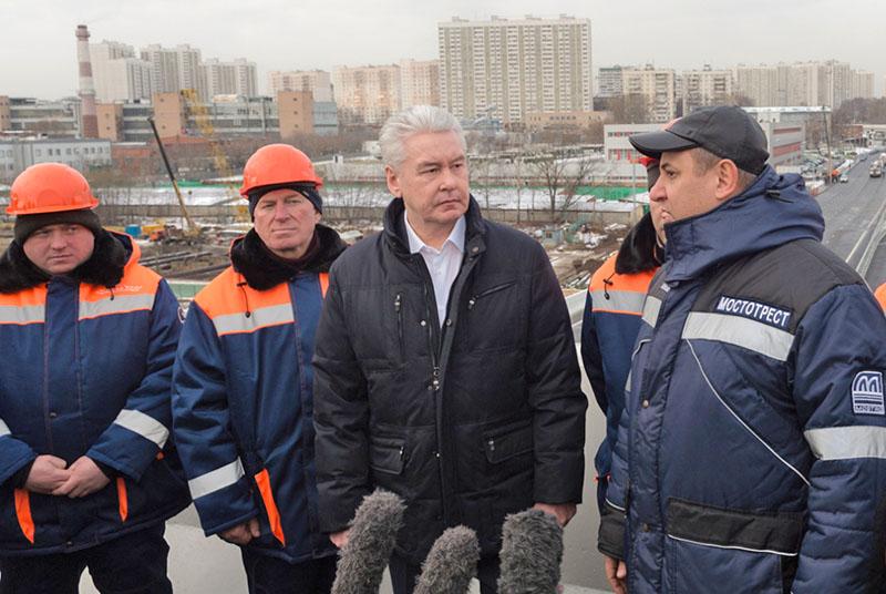 Сергей Собянин на реконструкции участка Северо-Западной хорды