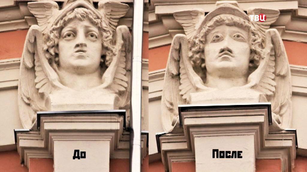 Барельеф древнеримского бога Меркурия на здании купца Кузнецова до и после реконструкции