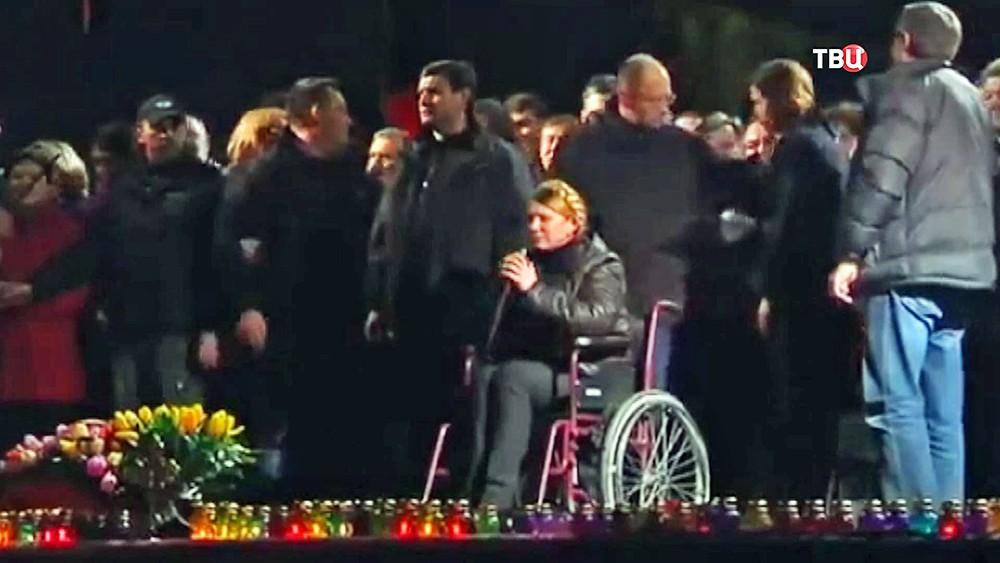 Юлия Тимошенко на митинге после своего освобождения