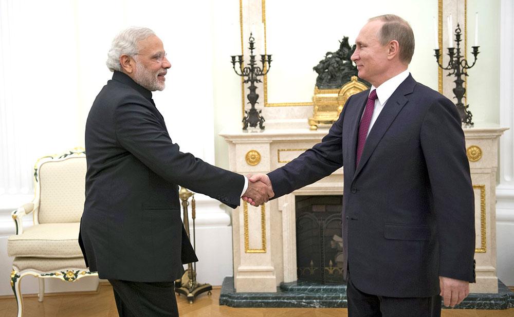 Президент России Владимир Путин и премьер-министр Индии Нарендра Моди