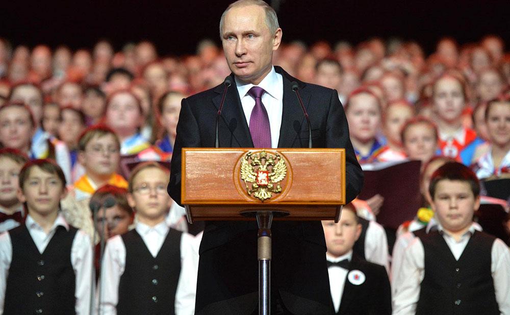 Президент России Владимир Путин и Детский хор России