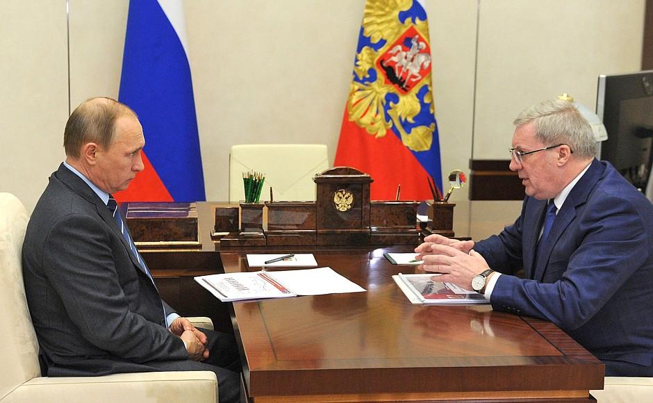 Президент России Владимир Путин и губернатор Красноярского края Виктор Толоконский