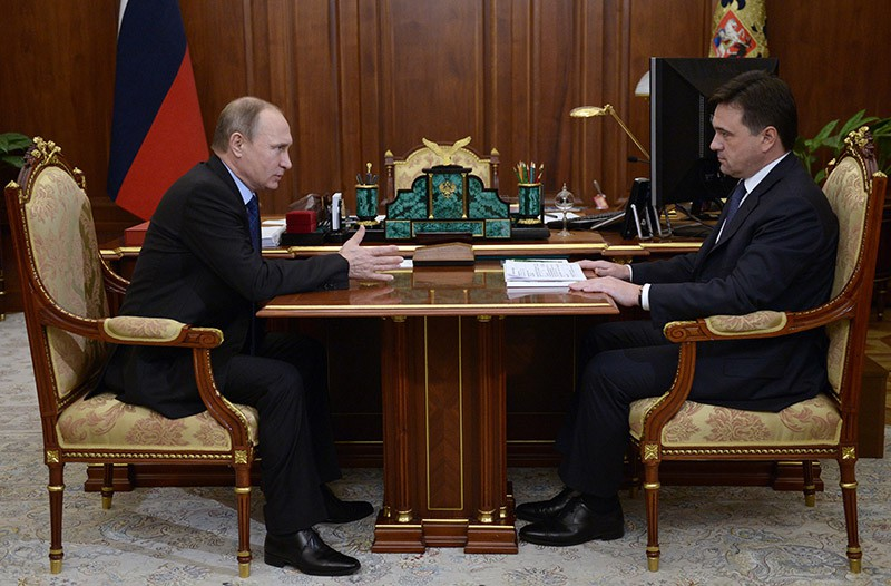 Президент России Владимир Путин и губернатор Московской области Андрей Воробьёв во время встречи в Кремле