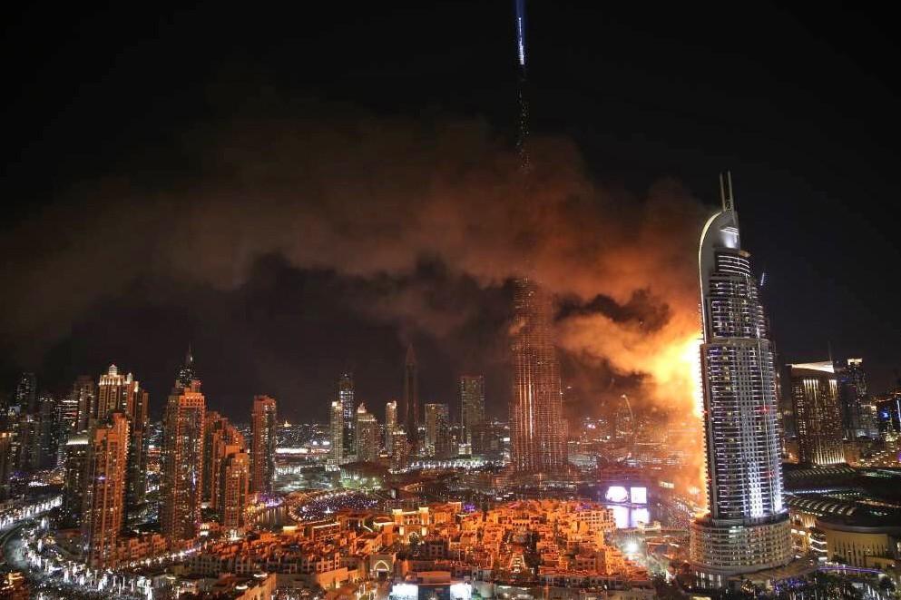 Пожар в небоскребе в Дубае