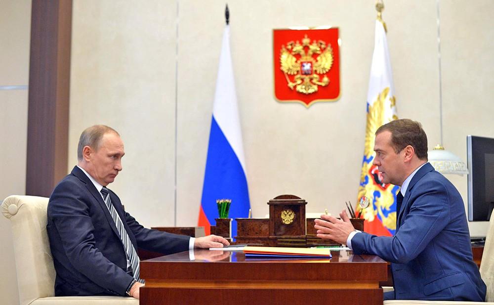 Президент России Владимир Путин и Рабочая встреча с председатель правительства РФ Дмитрий Медведев