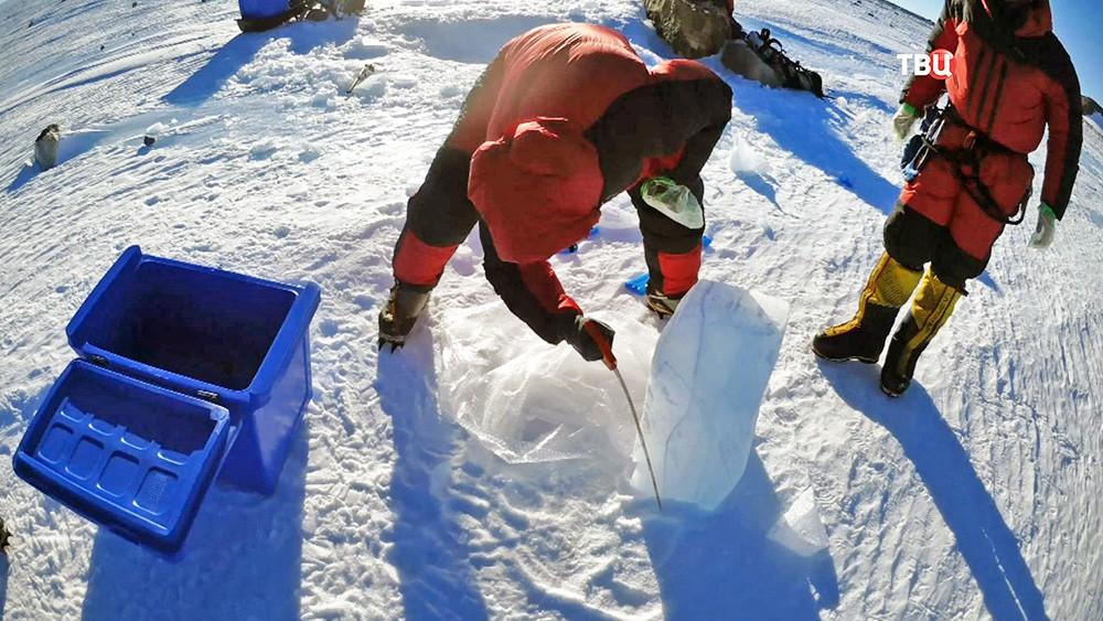 Участники метеоритной экспедиции в Антарктиду