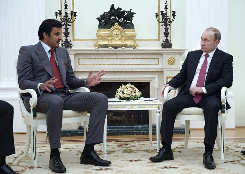 Президент России Владимир Путин и эмир государства Катар шейх Тамим бен Хамад Аль Тани во время встречи в Кремле