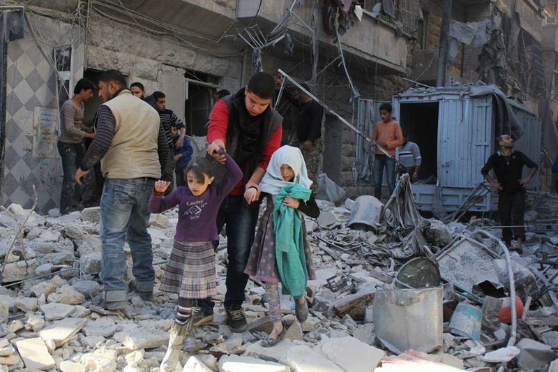 Разрушенный войной город в Сирии
