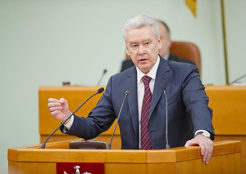 Мэр Москвы Сергей Собянин выступает с годовым отчетом о результатах деятельности правительства Москвы в Мосгордуме