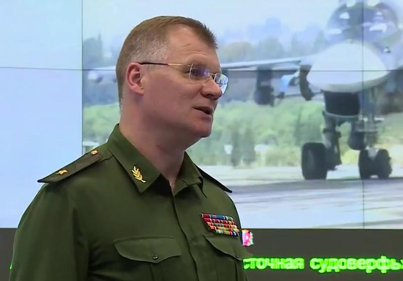 Официальный представитель Минобороны России генерал-майор Игорь Конашенков во время пресс-брифинга