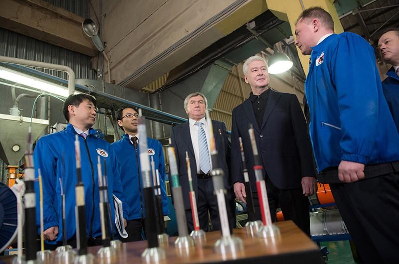 Сергей Собянин на открытии производственных линий на предприятии «Москабельмет»