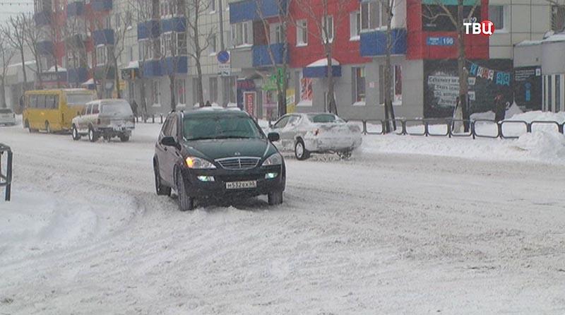 Снегопад в Сахалине