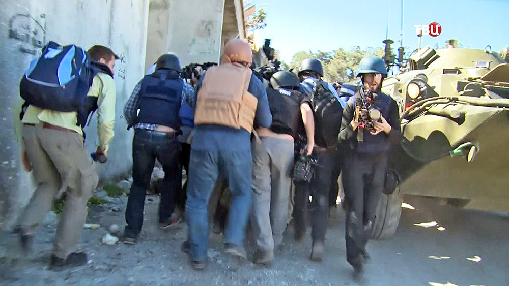 Обстрел журналистов в Сирии