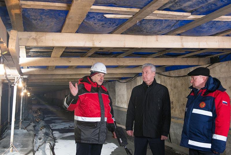Сергей Собянин на реконструкции Нагатинского моста