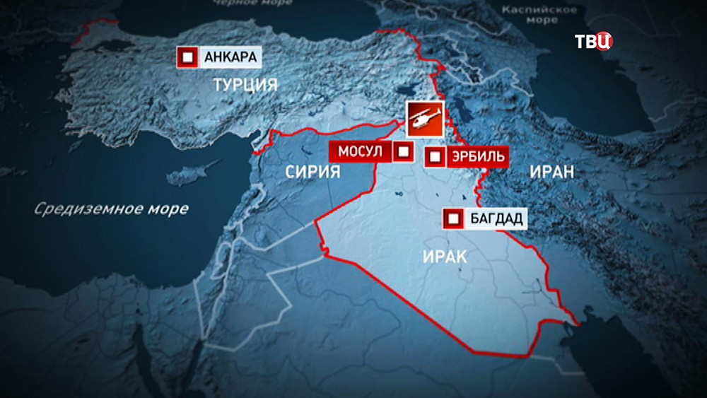 Место падения сбитого вертолета ВВС Турции над территорией Ирака