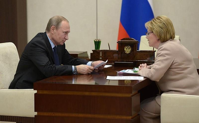 Владимир Путин и Министр здравоохранения Вероника Скворцова