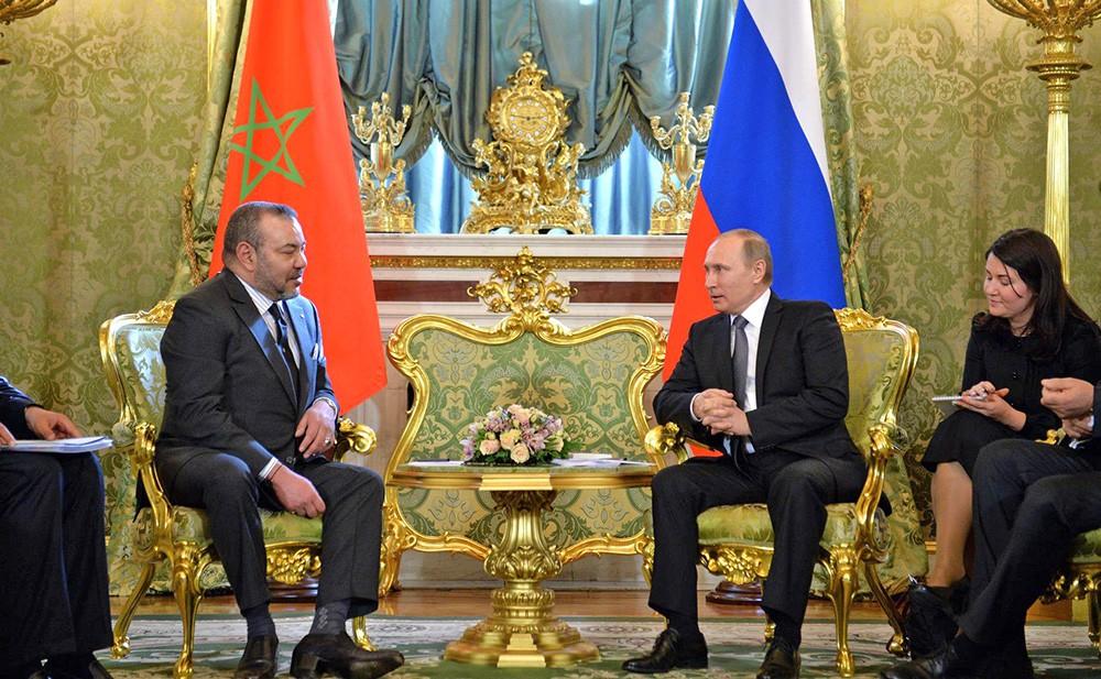 Президент России Владимир Путин и король Марокко Мухаммед VI