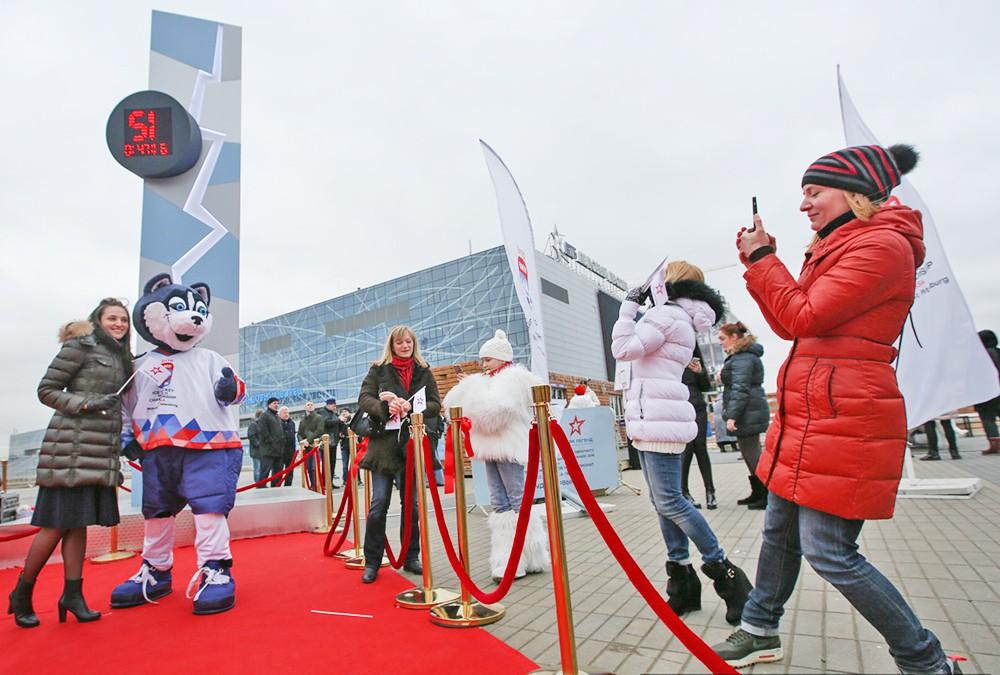 Открытие стелы обратного отсчета до старта ЧМ по хоккею 2016