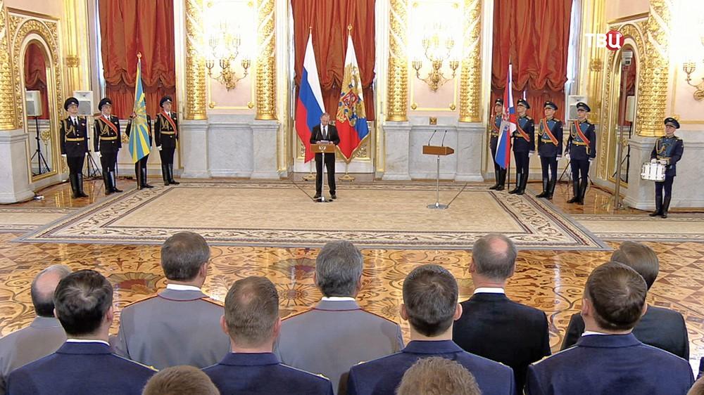 Президент России Владимир Путин на торжественной церемонии в Александровском зале Кремля