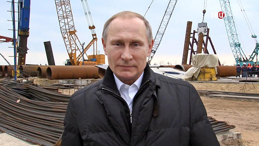 Президент России Владимир Путин во время осмотра района строительства Крымского моста