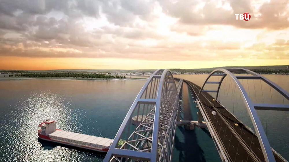 Модель Крымского моста через Керченский пролив