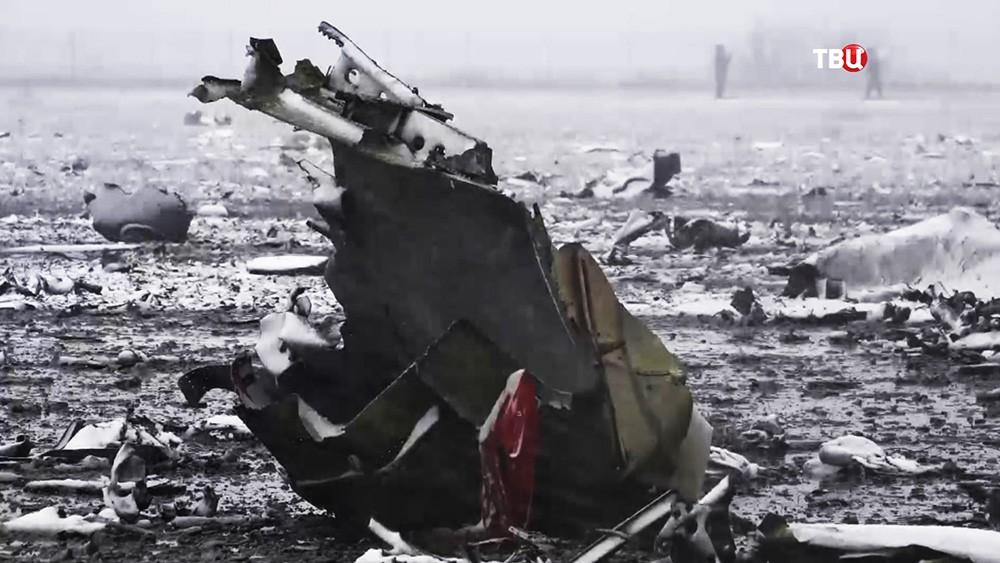 Место крушения пассажирского самолета Boeing-737-800 в аэропорту Ростова-на-Дону