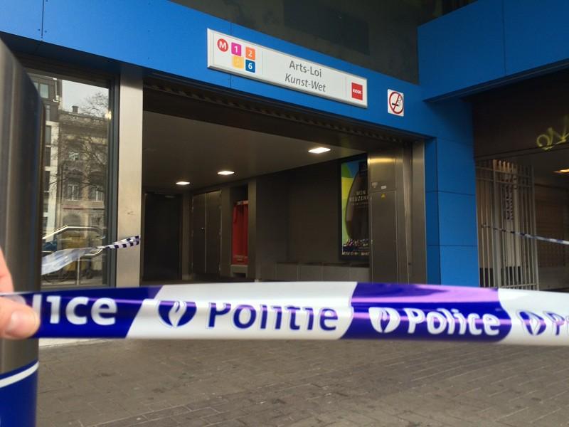 Закрытая станция метро в Брюсселе
