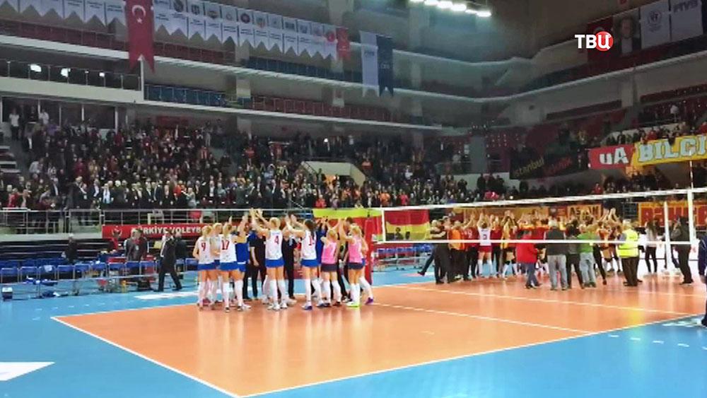 Российские волейболистки на матче в Турции