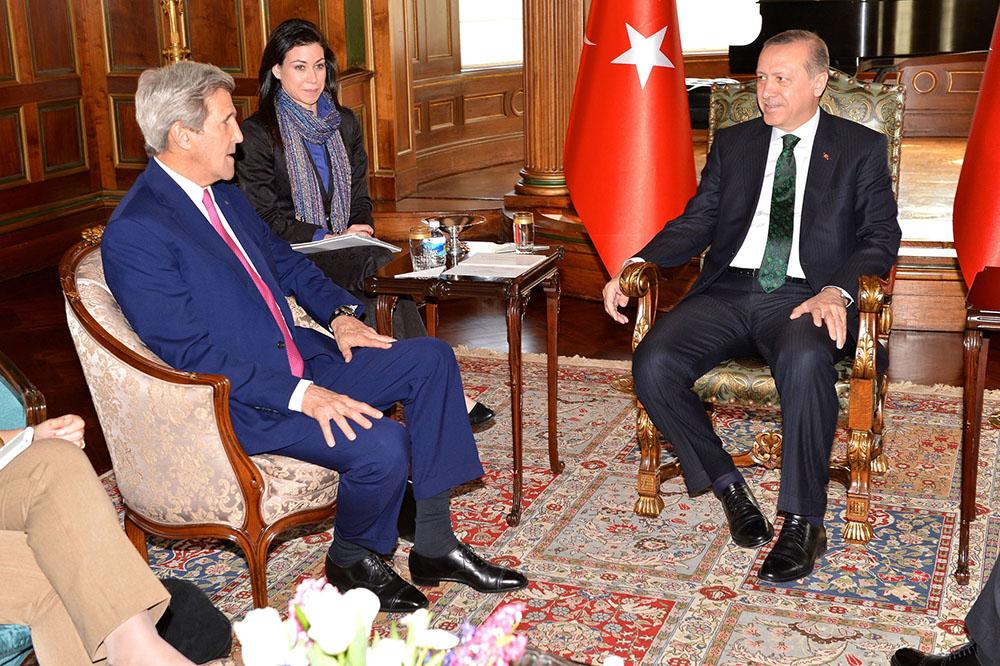 Госсекретарь США Джон Керри и президент Турции Тайип Эрдоган