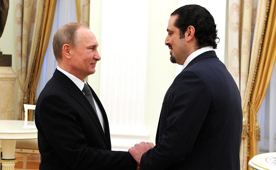Президент России Владимир Путин и бывший председатель Совета министров Ливана Саад Харири
