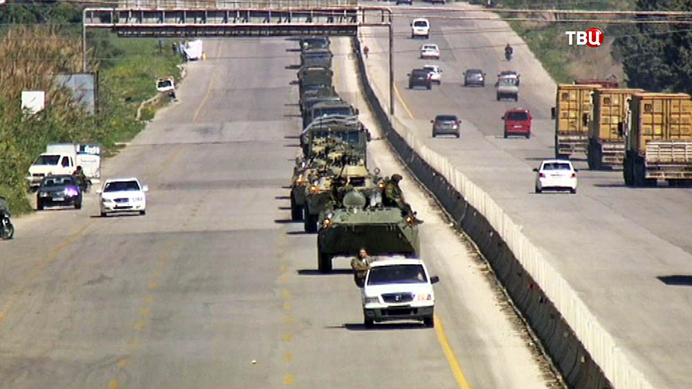 Колонна саперных войск российской армия в Сирии