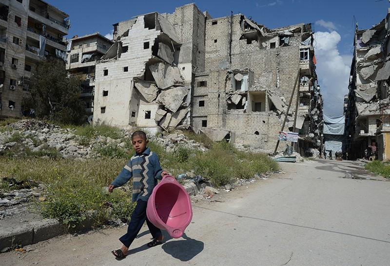 Разрушенный район Салах-ад-дин в Алеппо