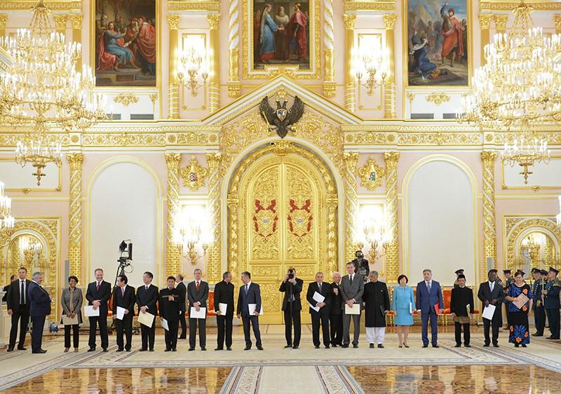 Послы иностранных государств на церемонии вручения верительных грамот президенту России