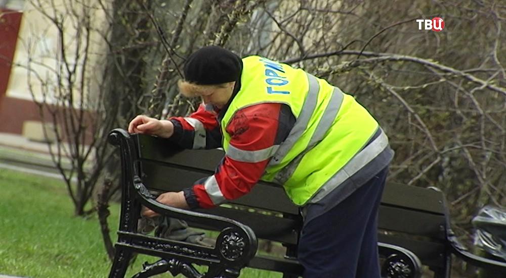 Сотрудница коммунальной службы убирает территорию сквера