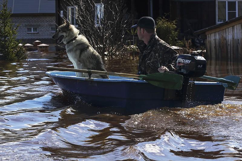 Мужчина с собакой на лодке во время паводка