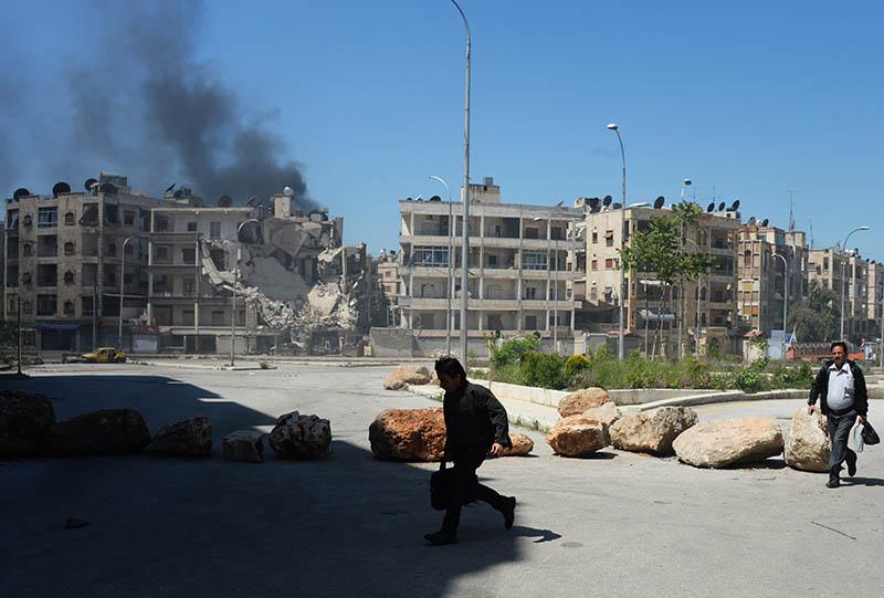 Обстрел боевиками одного из районов города Алеппо