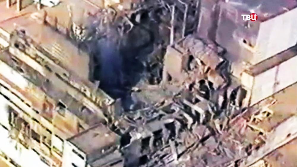 Место аварии на Чернобыльской АЭС