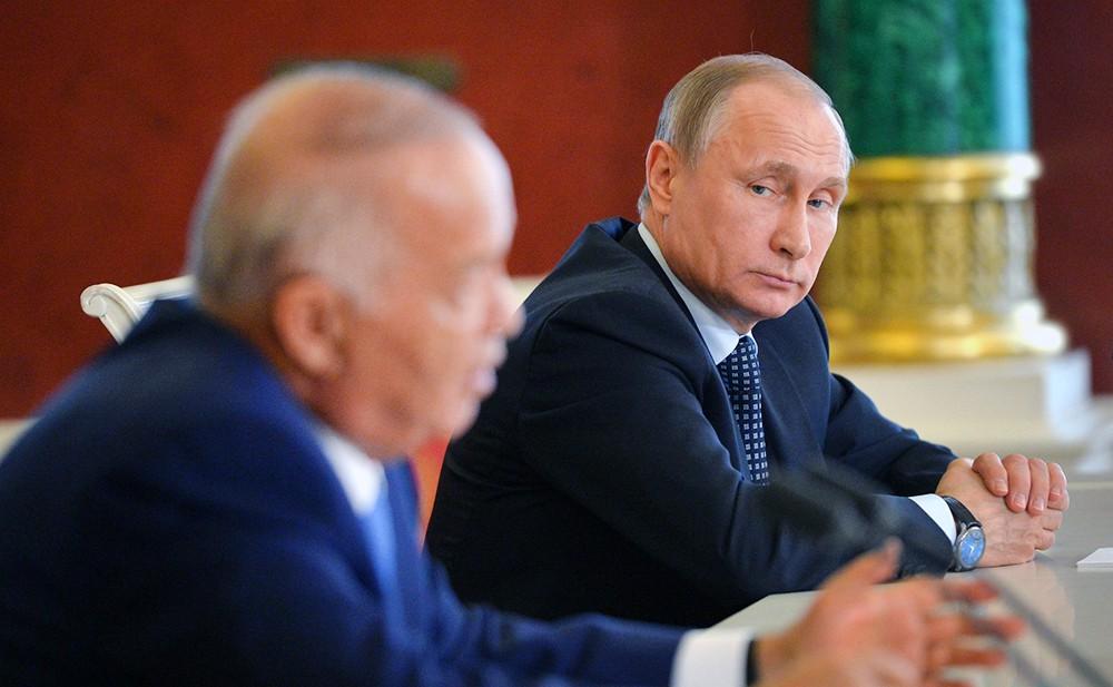 Президент России Владимир Путин и президент Республики Узбекистан Ислам Каримов