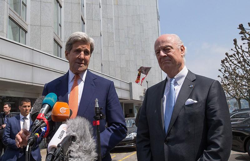 Госсекретарь США Джон Керри и спецпосланник генсека ООН по Сирии Стаффан де Мистуро