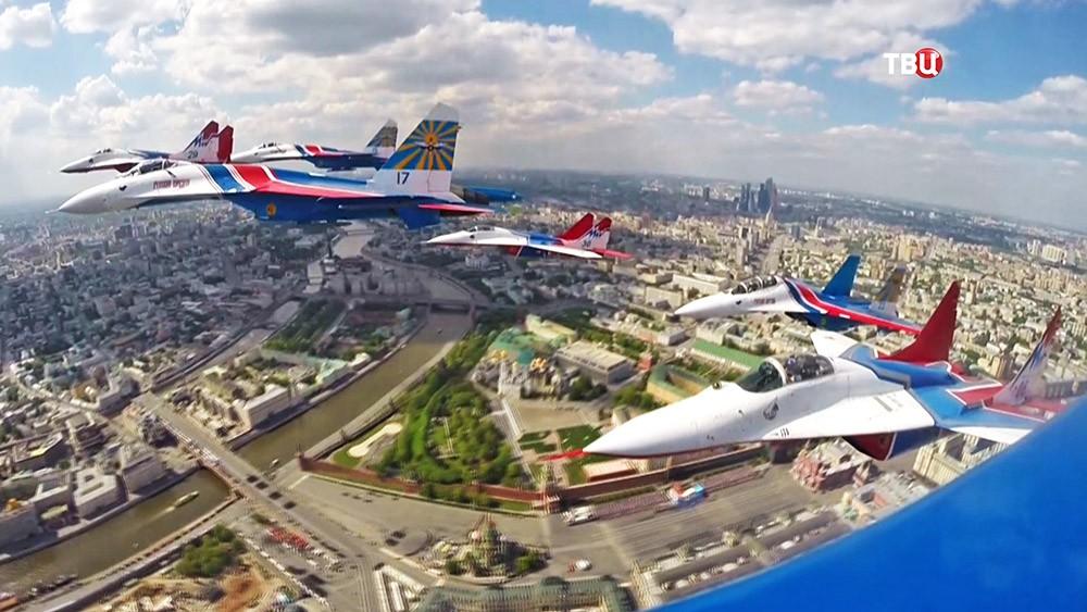 Пролет военной авиации над Москвой