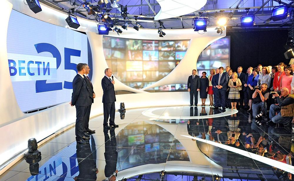 Президент России Владимир Путин на праздновании 25-летия начала вещания ВГТРК