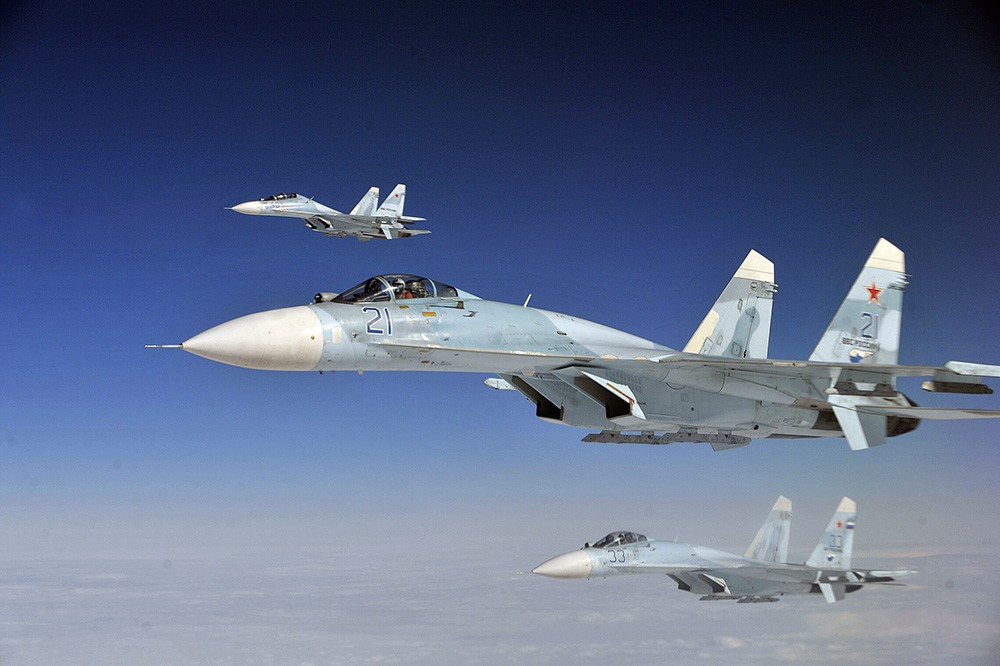 Истребители Су-27 авиагруппировки ВКС России