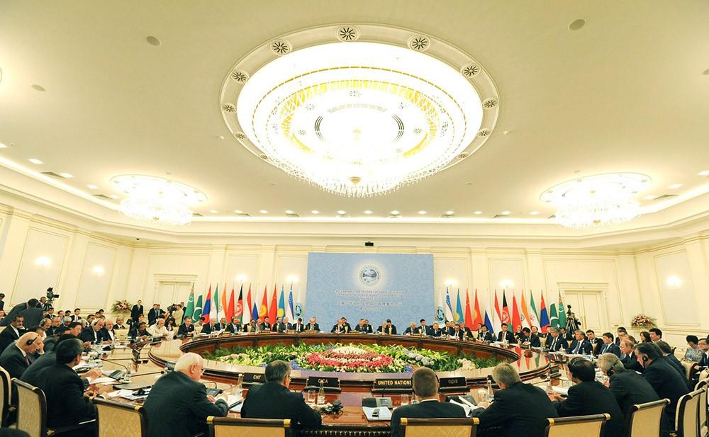 Заседание в Ташкенте Совета глав государств-членов Шанхайской организации сотрудничества (ШОС) в расширенном составе
