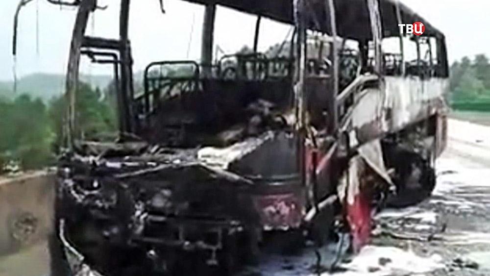Последствия возгорания автобуса в Китае