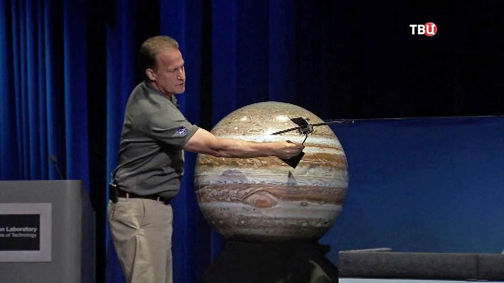 Модель полета зонда Juno к Юпитеру