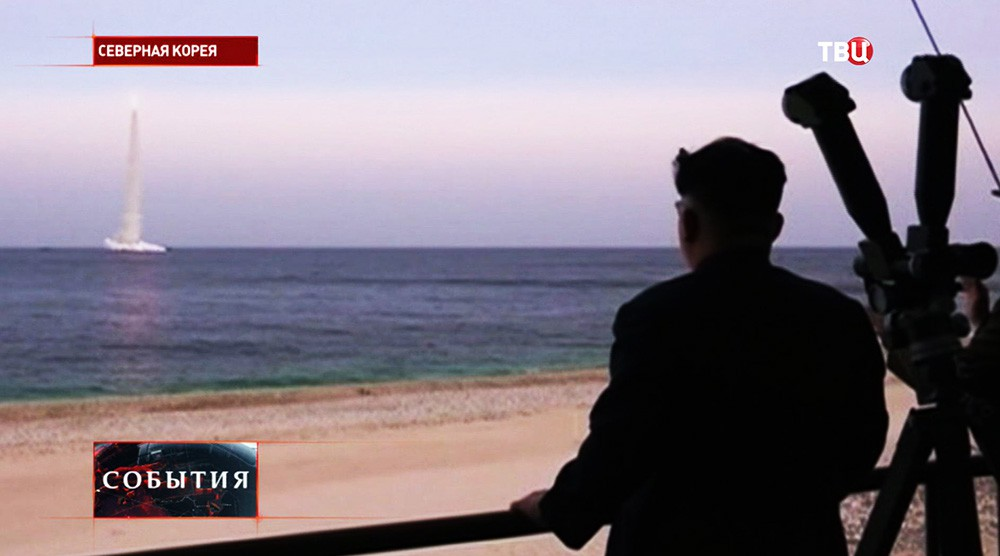Пуск ракеты с борта подводной лодки КНДР