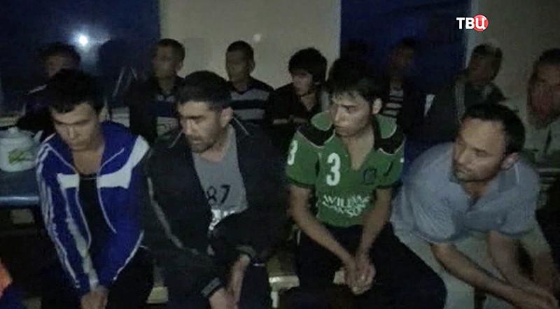 Задержанные работники контрафактного алкоголя в Подмосковье